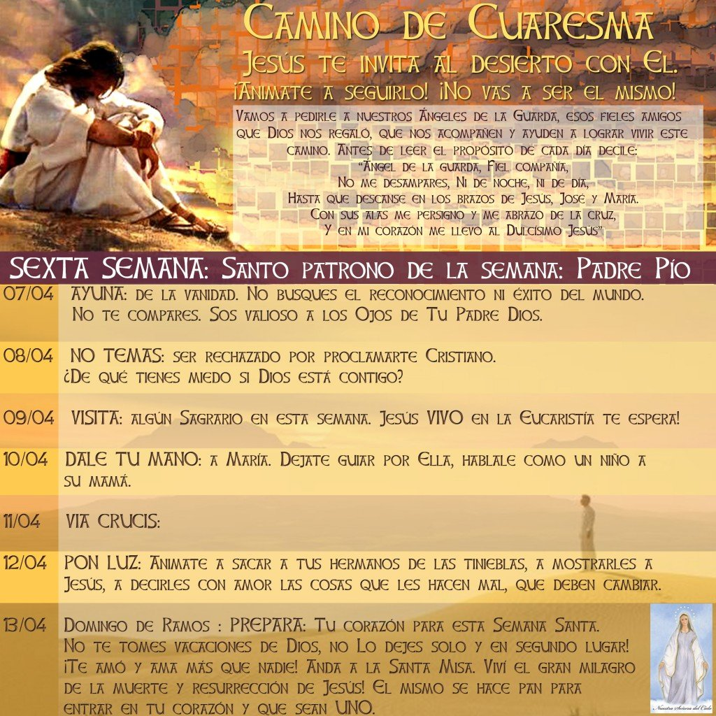 Calendario de Cuaresma 6 semana 2014