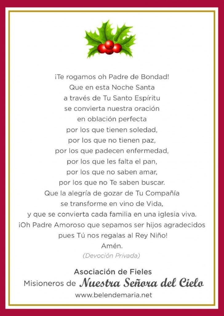 Bendicion de la Mesa de Navidad 2015 Dorso
