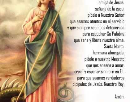 Oración de las Madres de Familia a Santa Marta