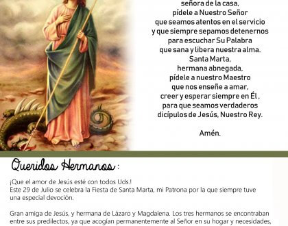 29 de Julio: fiesta de Santa Marta