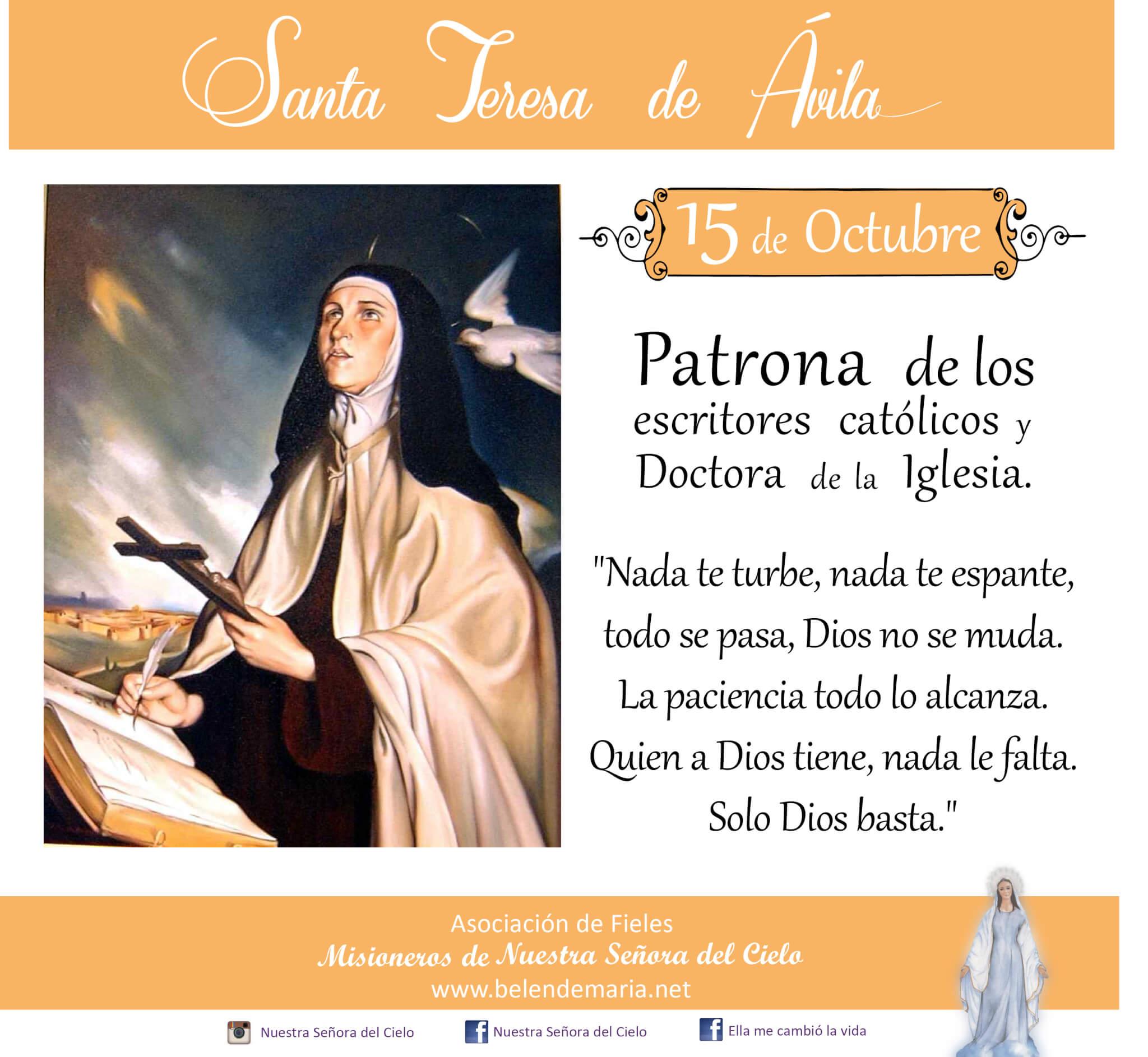 15 de Octubre: dia de Santa Teresa de Ávila ❣