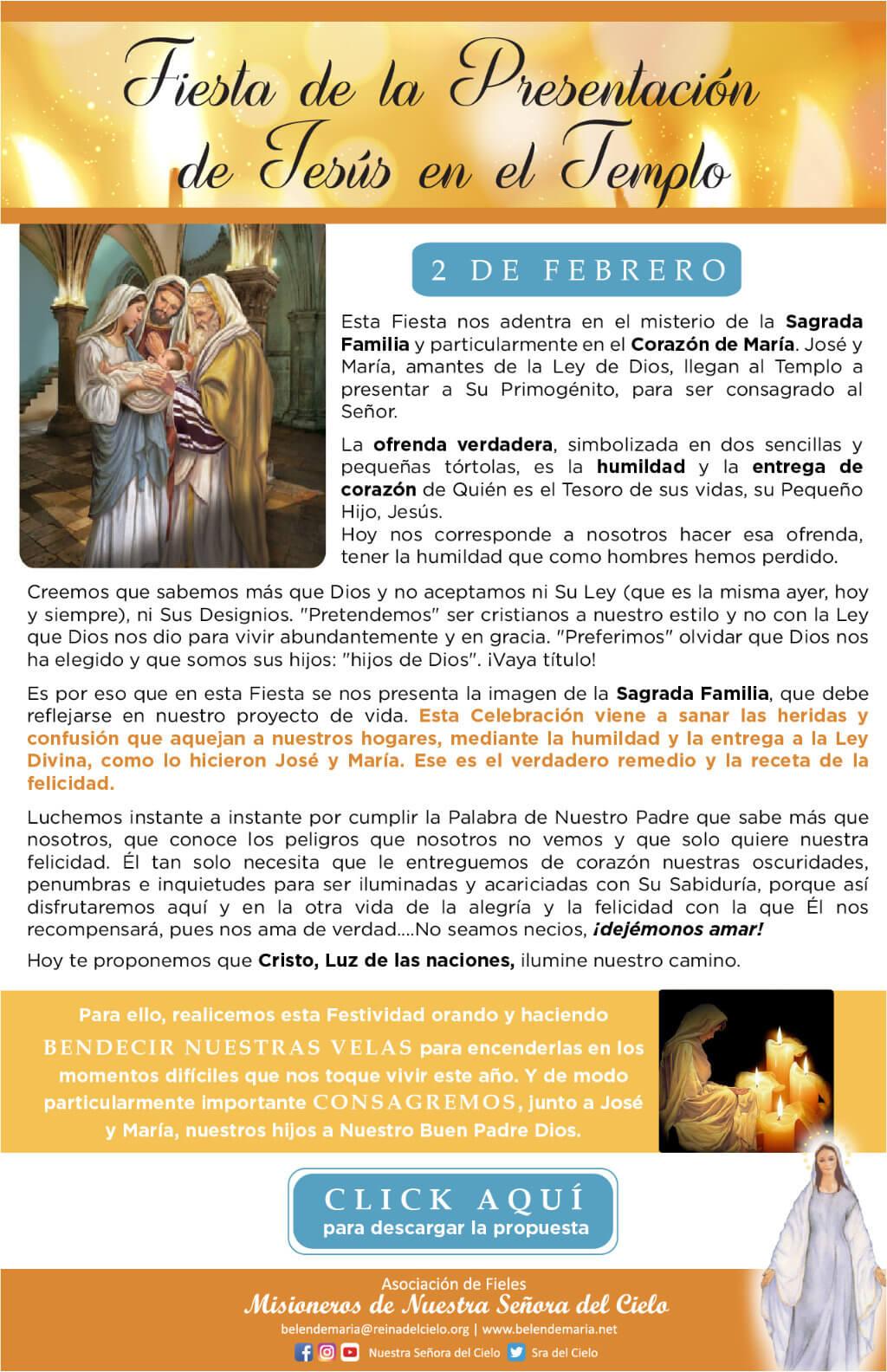 Fiesta de la Candelaria Jesús en el templo
